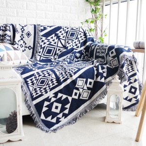 Cotton Thread Sofa Cover Blanket with Special Tassels 130 x 180cm - Dark Blue and Beige Pattern