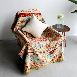 Cotton WarmThread Sofa Cover Blanket with Tassels 130 x 180cm - Tribal Pattern