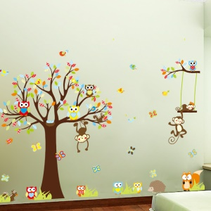Jungle Theme Colorful Owl Monkey Tree Decorative Wall Sticker Wall Decal for Children Bedroom