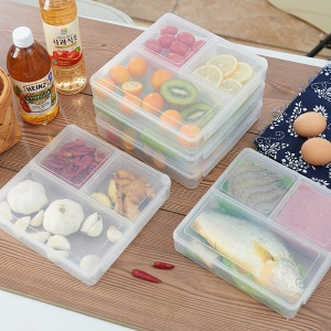 3-Compartment Safe Food-grade PP Fresh-keeping Container Box, 1.2L