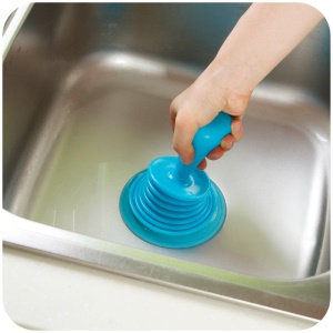 Plastic Strong Suction Pipe Sink Sewer Bathtub Plunger Kitchen Dredging Tools - Blue