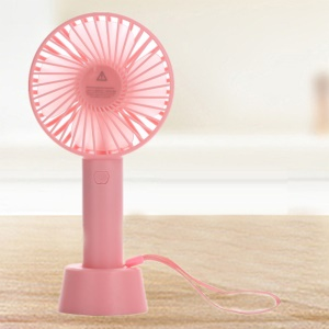 Portable USB Cooling Fan Handheld Mini Fan with 3 Adjustable Speeds - Pink