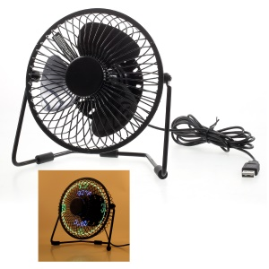 3-in-1 Desktop Temperature Time Humidity Clock LED Display Metal Fan Mini USB Rechargeable Table Fan