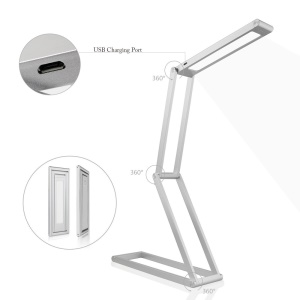 Portable Eye Protection LED Desk Lamp Multi-shape Folding 2 Brightness Settings - Silver