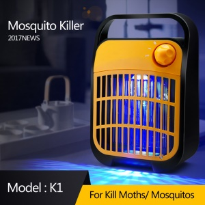 K1 Household Quiet Mosquito Trap Lamp Radiationless Electronic Mosquito Killer - Black + Orange / EU Plug