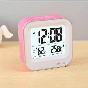 Square Pattern Light-control LCD Display Temperature Alarm Clock - Rose