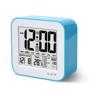 USB Smart Bedside 1200mAh Rechargable Digital Alarm Clock with Date, Time, Week Display - Blue