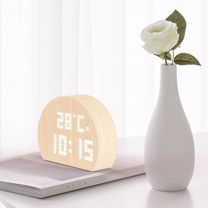 PLUS-DOT AC1 Wooden Circle Silent LED Intelligent Voice Control Time Temperature Humidity Display Alarm Clock