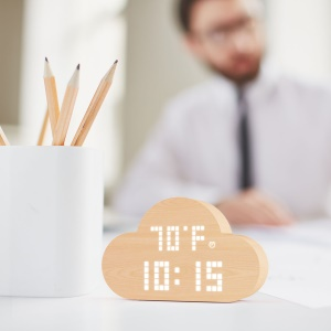 PLUS-DOT AC3 Wooden Cloud Silent LED Intelligent Voice Control Time Temperature Humidity Display Alarm Clock