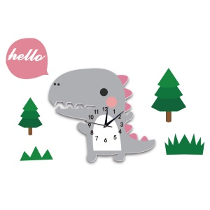 Cartoon Wall Clock 3D Creative Decoration Art Clock DIY Wall Clock Sticker - Dinosaur