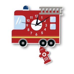 American Fire Engine Pattern Wall Clock 3D Creative Decoration Art Clock DIY Wall Clock Sticker
