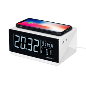 MOMAX Q.clock Alarm Clock Time Date, Temperature Display with Qi Wireless Charging Pad for Bedroom Office Home - US Plug