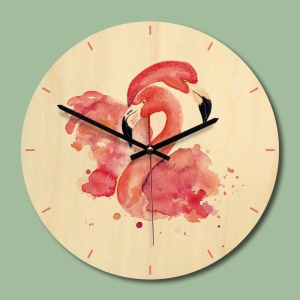 Wood Wall Clock, Flamingo Pattern Non-ticking Silent Wooden Wall Clock - Style 1