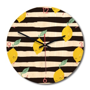 Solid Wood Noiseless Big Wall Clock Round Wall Clock Wall Decor - Lemon