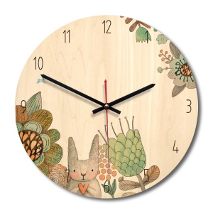 Solid Wooden Wall Mounted Clock Non-ticking Silent Wooden Clock for Home Decor - Style A