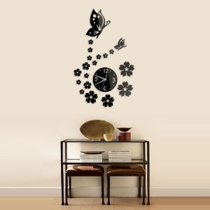 Modern Style DIY Butterfly Flower Relógio Wall Sticker Home Decor for Living Room - negro