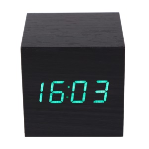VST-869 Wooden Cube Digital LED Alarm Clock Sounds Control with Temperature Display - Black