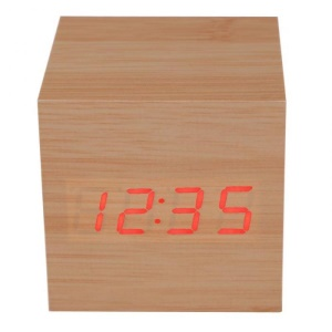 VST-869 Wooden Cube Digital LED Sounds Control Alarm Clock with Temperature Display - Brown