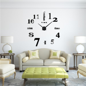 Modern Mute 3D Frameless Large Wall Clock DIY Room Home Decorations (3M002) - Black