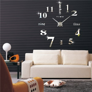 Creative Mute DIY Large Wall Clock 3D Sticker Home Office Decor (3M002) - Silver Color