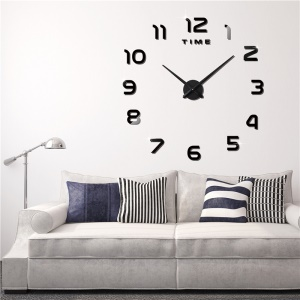 DIY Large Size 3D Mirror Sticker Wall Clock Arabic Numerals (3M004) - Black