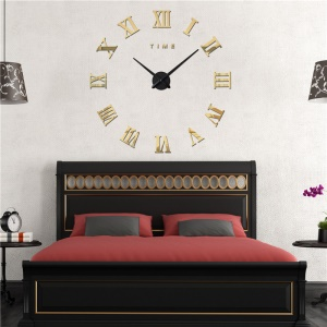 DIY 3D Acrylic Mirror Wall Clock Frameless Roman Numerals Large Size (3M011) - Gold Color
