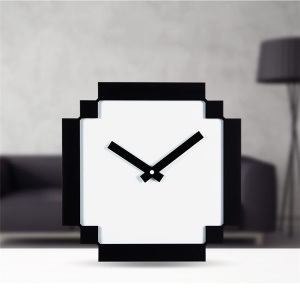 GEEKCOOK 8Bit Black and White Pixel Style Wall Clock for Home Decor