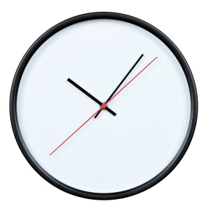 """GEEKCOOK 12"""" Wall Clock Metal Frame Glass Surface with No Numbers Wall Clock - Black"""