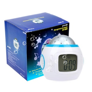 Starry Sky Music Colorful Projection Light Alarm Clock with Time/Temperature/Calendar Display - White