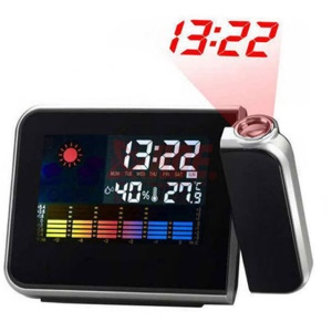 Rotating Time Projection Weather Forecast Electronic Alarm Clock LCD Display