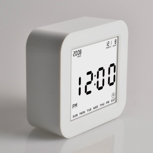 Large LCD Display Square Digital Alarm Clock Flip Alarm Clock with Automatic Backlit Function - White