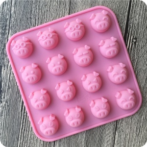 Silicone 16 Little Pig Chocolate Sweet Moulds Tray Candy Cookie Cake Topper Jelly Baking Ice Molds - Pink