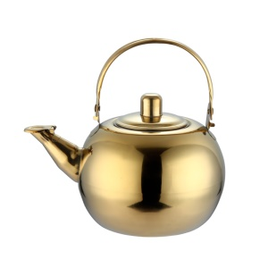 Large Capacity Stainless Steel Tea Pot Kettle with Strainer Filter for Camping - Gold Color
