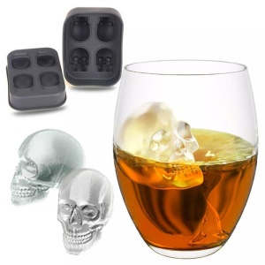 3D Skull Silicone Ice Cube Tray Mold Makes Four Giant Skulls Ice Cube Maker