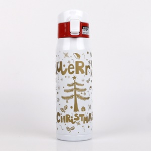 Christmas Gift 500ml Stainless Steel Vacuum Insulated Water Bottle Leak-proof Hot Water Bottle - White
