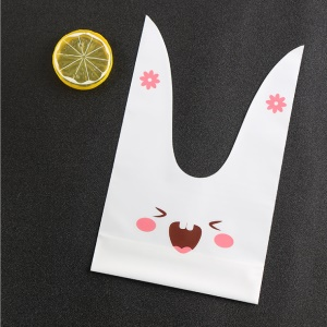 10Pcs Lovely Candy Gift Dessert Sandwich Snack Biscuits Cookies Cakes Matte Plastic Bags with Cute Ear - Pink Rabbit