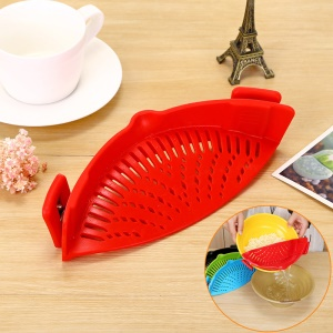 Silicone Vegetables Washing Hollow Out Pot Side Drain Tool - Red