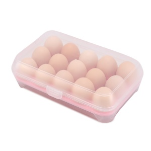 15 Eggs Tray Holder with Lid Portable Egg Storage Organizer - Pink