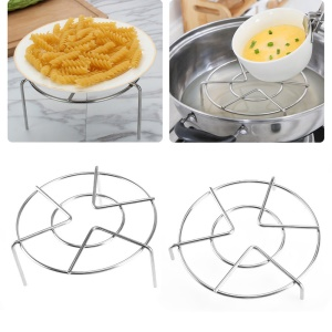 2Pcs/Set Heavy Duty Kitchen Cookware Trivets Stainless Steel Steamer Rack Stand