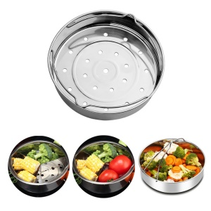 304 Stainless Steel Streaming Rack Steamer Basket Pressure Cooker with Removable Dividers (5L)