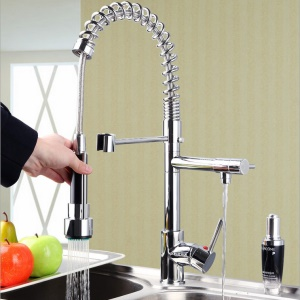 Kitchen Spring Pull-out Faucet Single Handle Tap Sink Mixer with Two Spouts