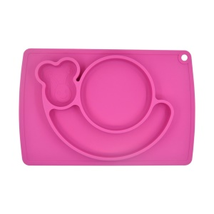 WINLY All-in-one Cute Snail Silicone Food Plate with Placemat for Babies Infants - Rose