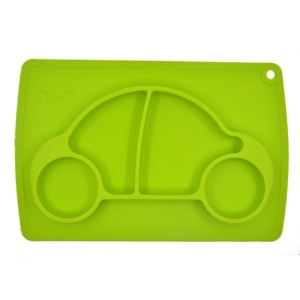 WINLY Car Design One-Piece Silicone Suction Placemat + Plate (FDA Certification) - Green