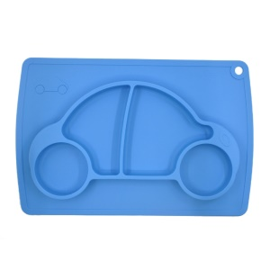 WINLY Car Design Baby Feeding One-Piece Silicone Placemat + Plate (FDA Certification) - Blue
