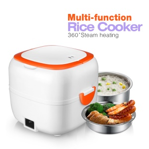 Multi-functional Rice Cooker Electric Meal Box Thermal Insulation Lunch Box - Orange / EU Plug