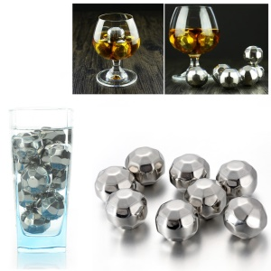 8Pcs/Set Stainless Steel Chilling Reusable Ice Cooler Wine Chillers with Freezing Storage Tray - Diamond Shape