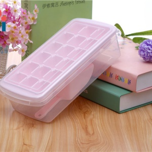 Ice Cube Tray with Lid, Ice Scoop, Ice Cube Bin Storage Box Makes 18 Ice Cubes