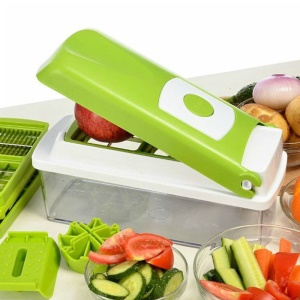 STUFZ 12pcs/Set Multi-functional Vegetable and Fruit Chopper Slicer Grater with Storage Container
