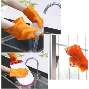 Cooking Glove Heat Insulating for Use with Hot Pots Vessels in Kitchen for Baking - Orange