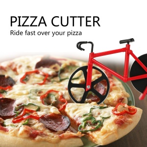 Stainless Steel Bicycle Shape Dual Wheel Pizza Cutter Rolling Knife Kitchen Tool - Red